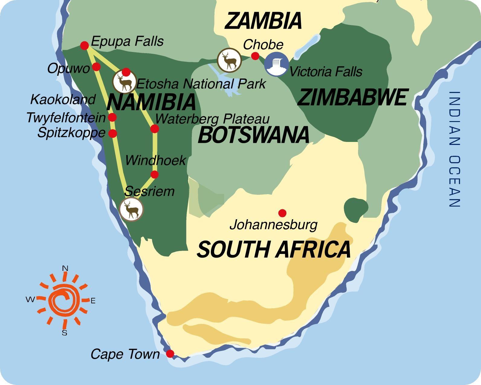 Cartina Africa In Italiano.Namibia Overland Con Traduttore Italiano Xenia Viaggi Prato